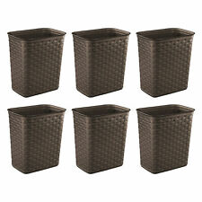 Sterilite Weave 3.4 Gallon Plastic Home/Office Wastebasket Trash Can (6 Pack)