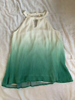 Hayden Los Angeles Women's Medium Ombre White to Green breezy flowy Blouse Top