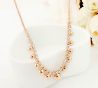 18K Rose Gold Filled Women's Ball Beads Pendant Necklace Inlay Swarovski Crystal