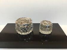 Two Vintage Glass Dresser Jars with Sterling Silver Lids