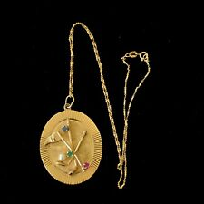 Vintage14K Gold Pendant & Chain, Stone Accents,1950s Mid Century 10.3 Grams