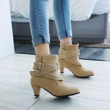 Women's Ankle Boots Suede Block Mid Heels Booties Buckle Casual Round Toe Shoes