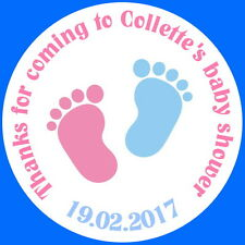 BABY SHOWER LITTLE FEET, PERSONALISED GLOSSY STICKERS, SEALS LABELS