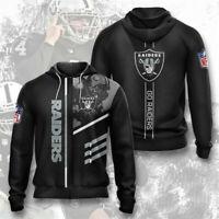 Las Vegas Raiders Mens Hoodie Full Zip Hooded Sweatshirt Casual Jacket Coat gift