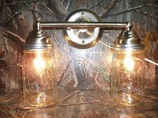 Mason Jar Light 2-Light Brushed Nickel Vanity Light w/ Authentic Ball Mason Jars