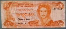 BAHAMAS, THE CENTRAL BANK 5 DOLLARS NOTE FROM 1984, P 45 a, SIGNATURE: ALLEN