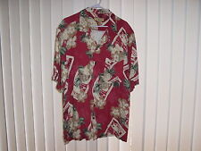 Men's XL Hawaiian SS Maroon, Pineapple/Floral by Caribbean Joe, 100% Rayon