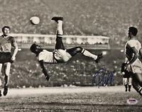 Brazil Pele Signed 11x14 Soccer Photo Bike Kick - Autographed PSA/DNA COA Blue