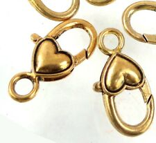 27x14mm Antique Gold Pewter Heart Lobster Claw Clasps (5)