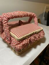 Vintage Azar Sewing Basket Case Red And White Checkers Cute Box