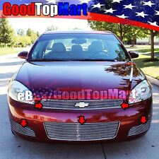 For Chevy IMPALA LT 2006-2012 Polished Grille 5PC Combo Top+Bumper+Fog OVERLAYS