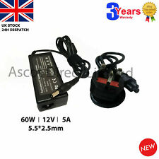 12V 5A 60w Power Supply Adapter Charger for LCD Screen 5.5*2.5-2.1mm + UK CORD