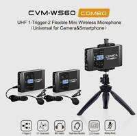 Comica CVM-WS60 UHF 12-Channel Wireless Lavalier Smartphone Microphone w/ Tripod