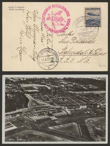 Germany 1936 Zeppelin Olympic Flight Air Mail Postcard Rhein-Main Frankfurt R91