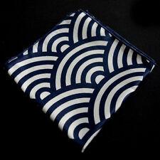 Navy White Stripes Pocket Square Cotton Men Handkerchiefs Hanky Handmade Factory