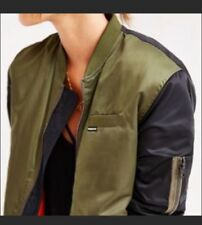Members Only Bomber Jacket Green Military Black Satin L NWT