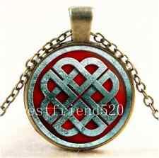 Vintage Viking Knot Photo Cabochon Glass Bronze Chain Pendant Necklace