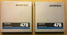 """Lot of 2 Ampex 478 Reel to Reel Mastering Audio Tape Factory Sealed 1/4""""x600'"""