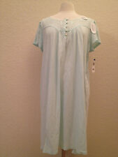 Miss Elaine Silkyknit Lace Trim Embroidered Short Gown 201402 Blue Medium