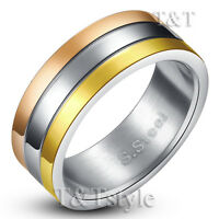 TT Tri-Tone Gold Silver Rose Gold Stripe S. Steel Wedding Band Ring (R199)