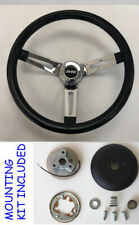 Jeep CJ YJ Wrangler Cherokee Grant Black Chrome Spokes Steering Wheel 13 1/2""