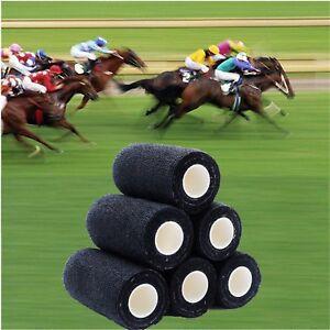 50 COHESIVE BANDAGES HORSES PETS MEDICAL10cmx4.5mt BLACK