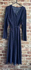 M&S Collection Size 14 BLUE SHIRT Dress SUMMER BELT BUTTONSLONG SLEEVES BNWT