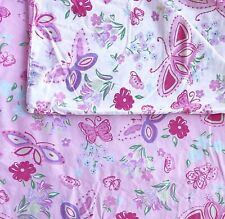 Pottery Barn Kids Olivia Butterflies Floral Twin Duvet Cover Cotton Pink White