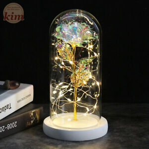 Galaxy Rose Flashing Flowers in Flask Glass Dome for Valentine's Day Gift Décor