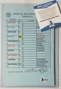 TORONTO BLUE JAYS GAME-USED DUGOUT LINEUP CARD BECKETT BAS SIGNED MLB BUCHHOLZ