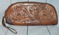 Brown Leather Tooled Floral Design Wristlet Clutch Vintage Hipster