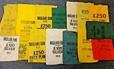 job lot of vintage fabric cash money change coin midland bank bags