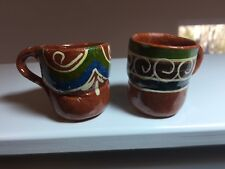 """Vintage Miniature Red Ware Pottery Mugs Pot Painted 2"""" Mini Mexico Shot Glass"""