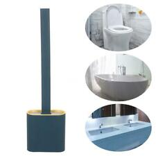 Silicone Toilet Bowl Cleaner Brush Flat Head Flexible Bristle with Holder