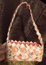 Candy Gum Pink Foil Food Wrapper Hand Made Folk Art Purse Handbag Woven Recycled