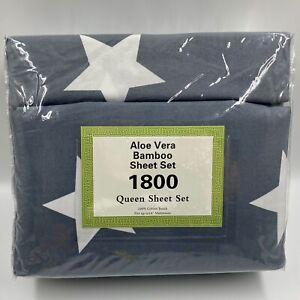 Aloe Vera Bamboo 6-Piece Sheet Set 1800 Series Queen Size Deep Pocket Stars NIP