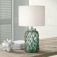 Nautical Table Lamp Coastal Blue Green Rope Net for Living Room Bedroom