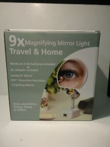Distortion Free Glass Lighted Travel and Home 9x Magnifying Mirror