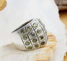 Silberring 58 Extrem Massiv Handarbeit Peridot Grün Spitz Ring Silber Edel Matt