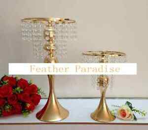 1 Gold Metallic Centerpiece Stand Cake Stand Floral Riser with Crystal Garlands