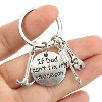 """Unisex Stainless Hand Tools Keyring """" If Dad Can't Fix It No One Can"""" Keychain"""