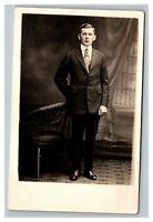 Vintage Early 1920's RPPC Postcard Photo of Handsome Young Man
