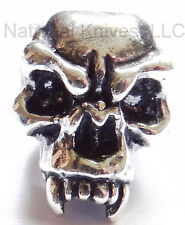 "Schmuckatelli Fang Skull Bead FSS, 3/16"" Hole. .925 Sterling Silver - Lanyards +"