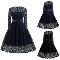 Womens Vintage 1960s Lace Swing Long Sleeve Mesh Midi Dress Evening Party Formal