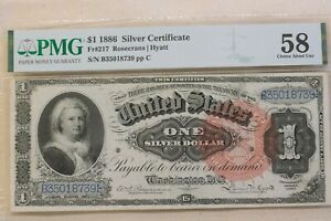 1886 $1 Silver Certificate FR #217 PMG About Unc 58
