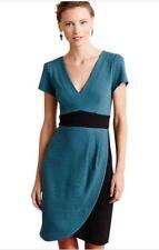 161c69cacfa6 MAEVE Anthropologie Medium M Splitshade Teal Blue Black Tulip V Neck Wrap  Dress