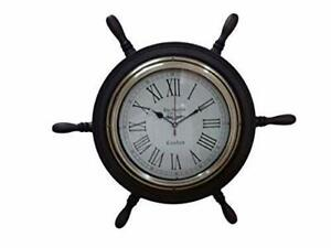 Antique Nautical Maritime Ship Handle 18 inch Designer Big Wall Clock Vintage