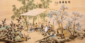 100% ORIGINAL ASIAN FINE ART CHINESE FIGURE WATERCOLOR PAINTING-Gaoshi People