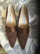 Manolo Blahnik Satin Brown Kitten Heels Size 5