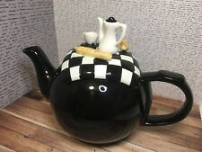 BREAKFAST NOVELTY TEAPOT black & white cloth with french pastries, bread & coffe